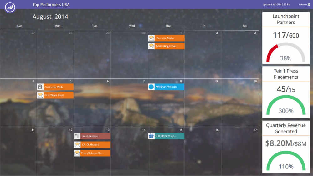 The Marketing Calendar live screenshot