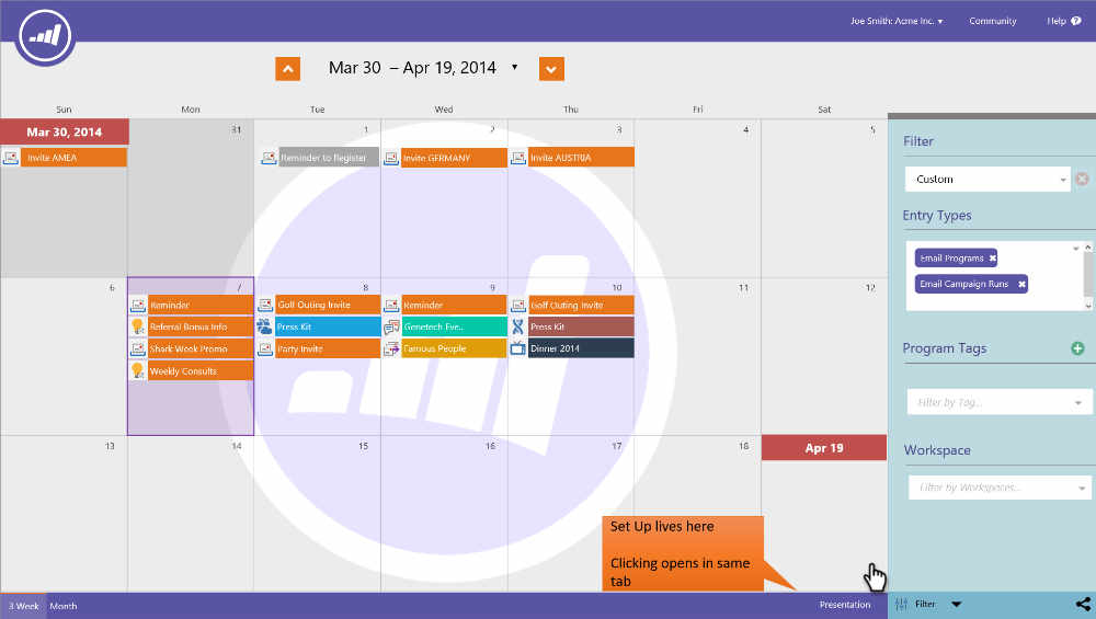 Calendar interactions
