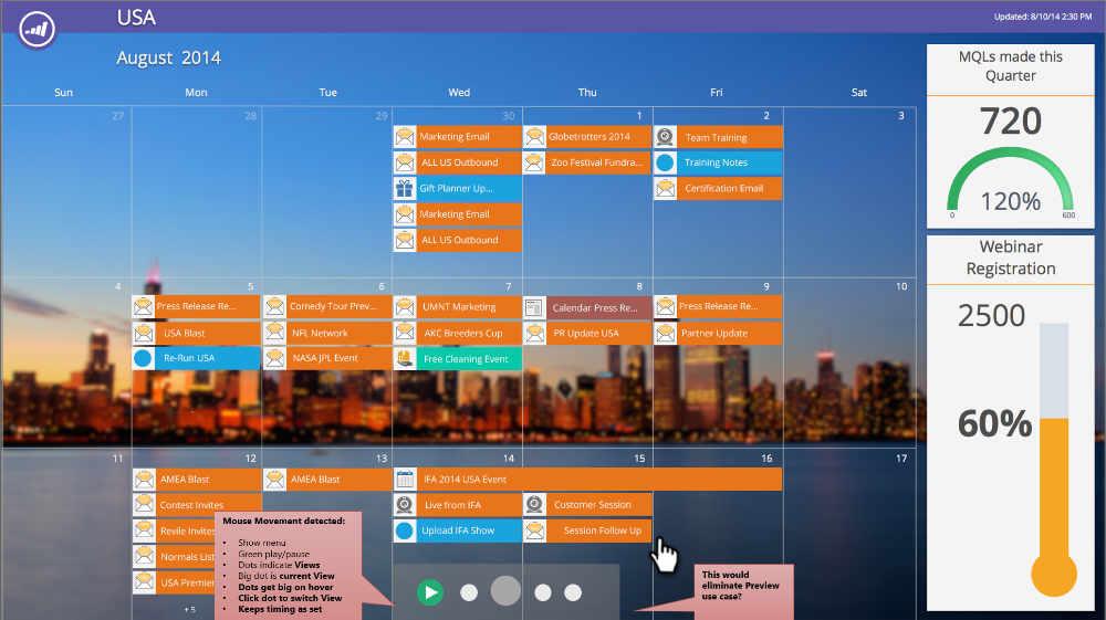 The Marketing calendar mockup