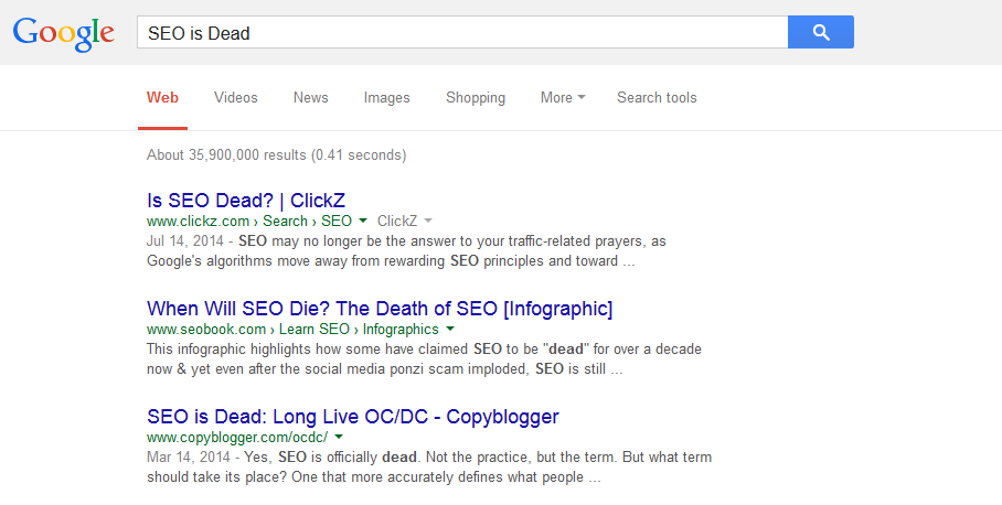 seo is dead results