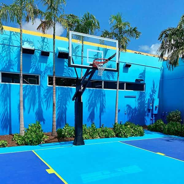 Beautiful tonal blue basketball court in Miami