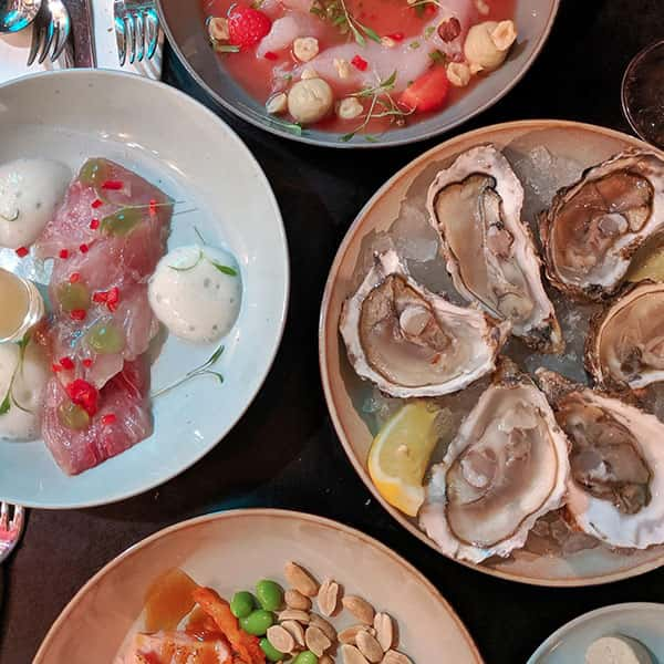Tapas plates of cerviche, oysters and salmon