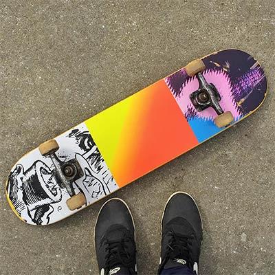 Bryn's colourful skateboard