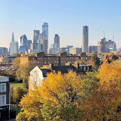 An autumnal view towards London's city skyline