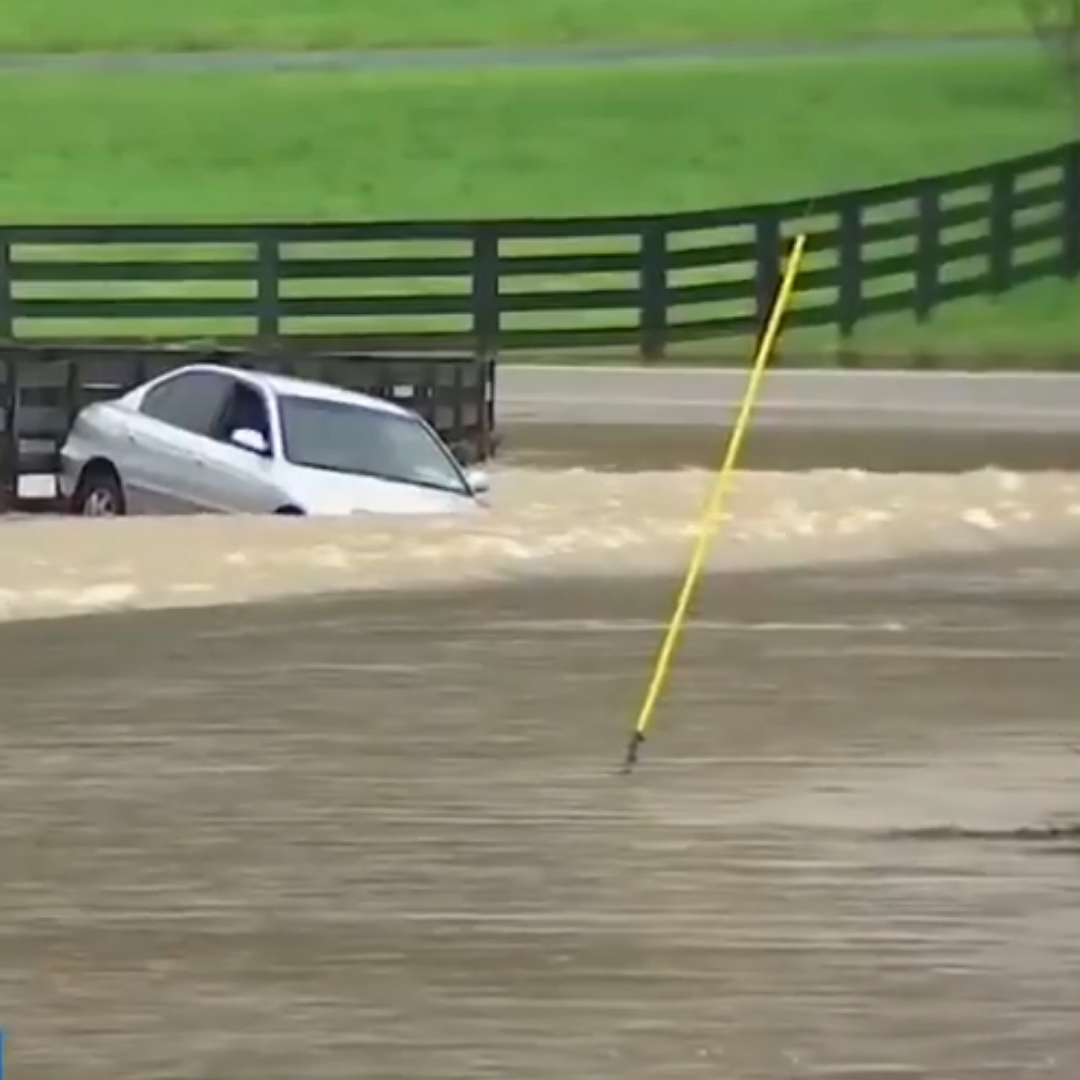 Submerged car in flooded Franklin, Tennessee
