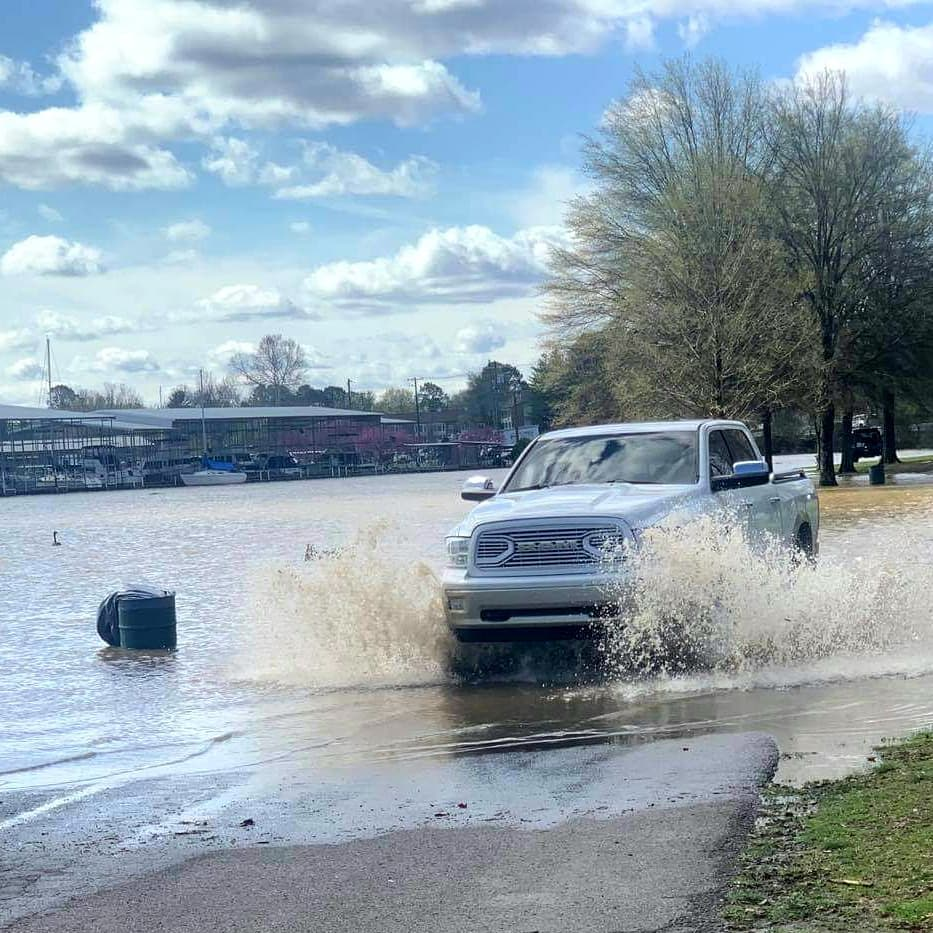 Truck driving on flooded road in Nashville, Tennessee