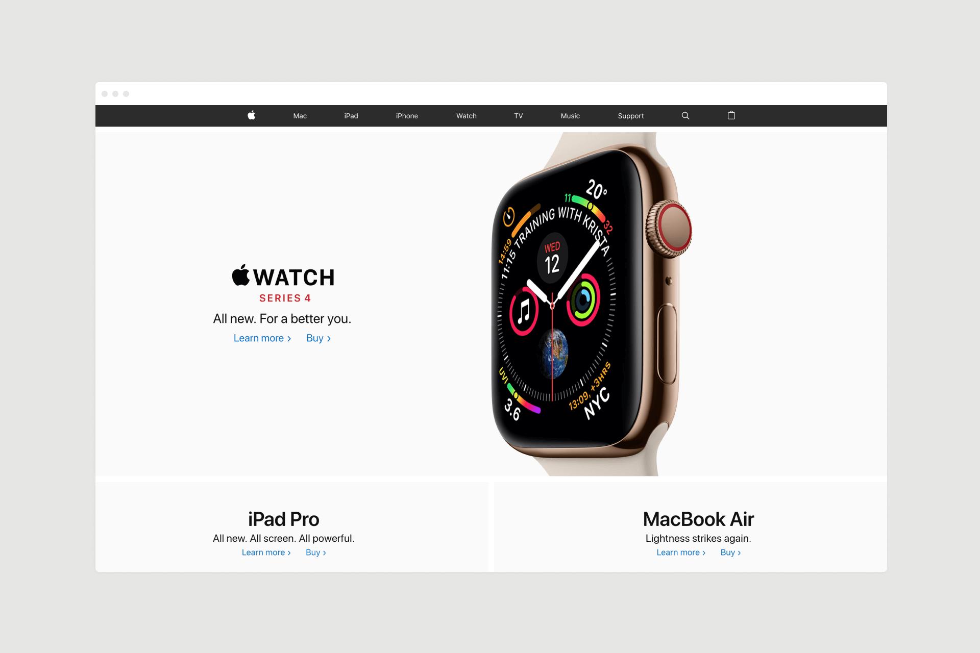 Apple UK Watch landing page design