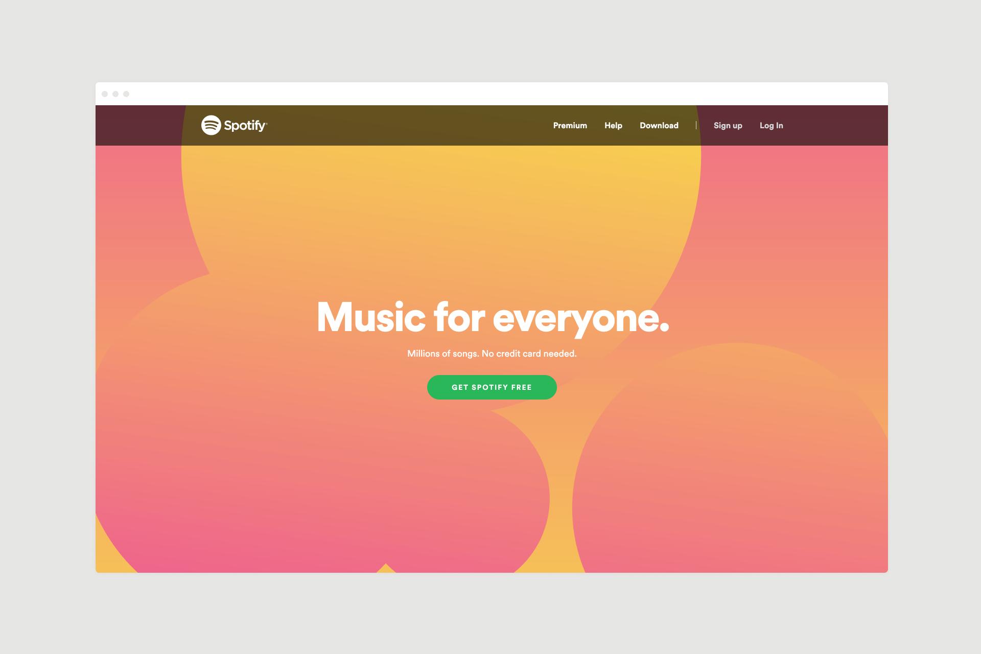 Spotify landing page design