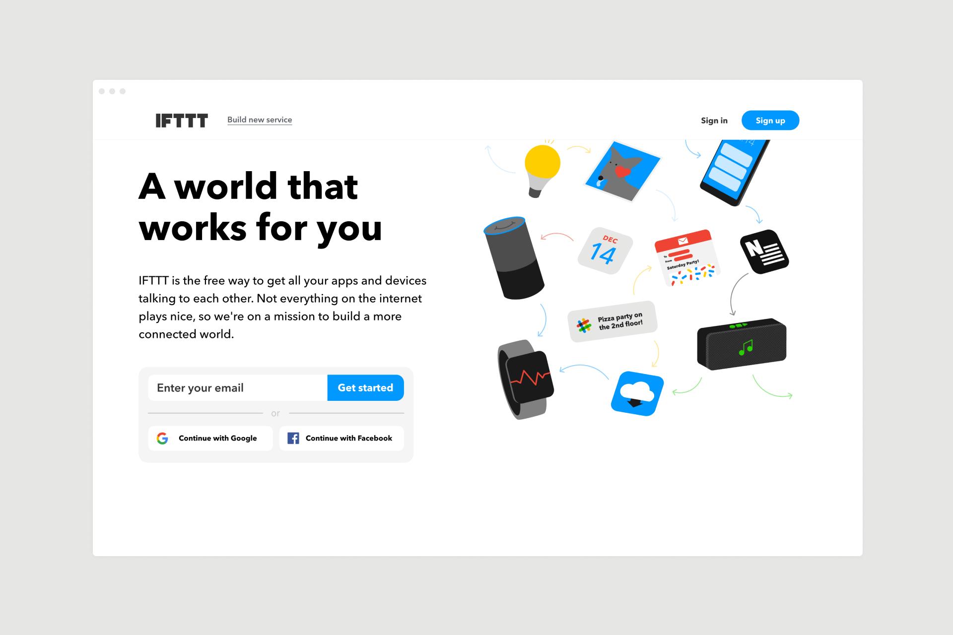 IFTTT landing page design