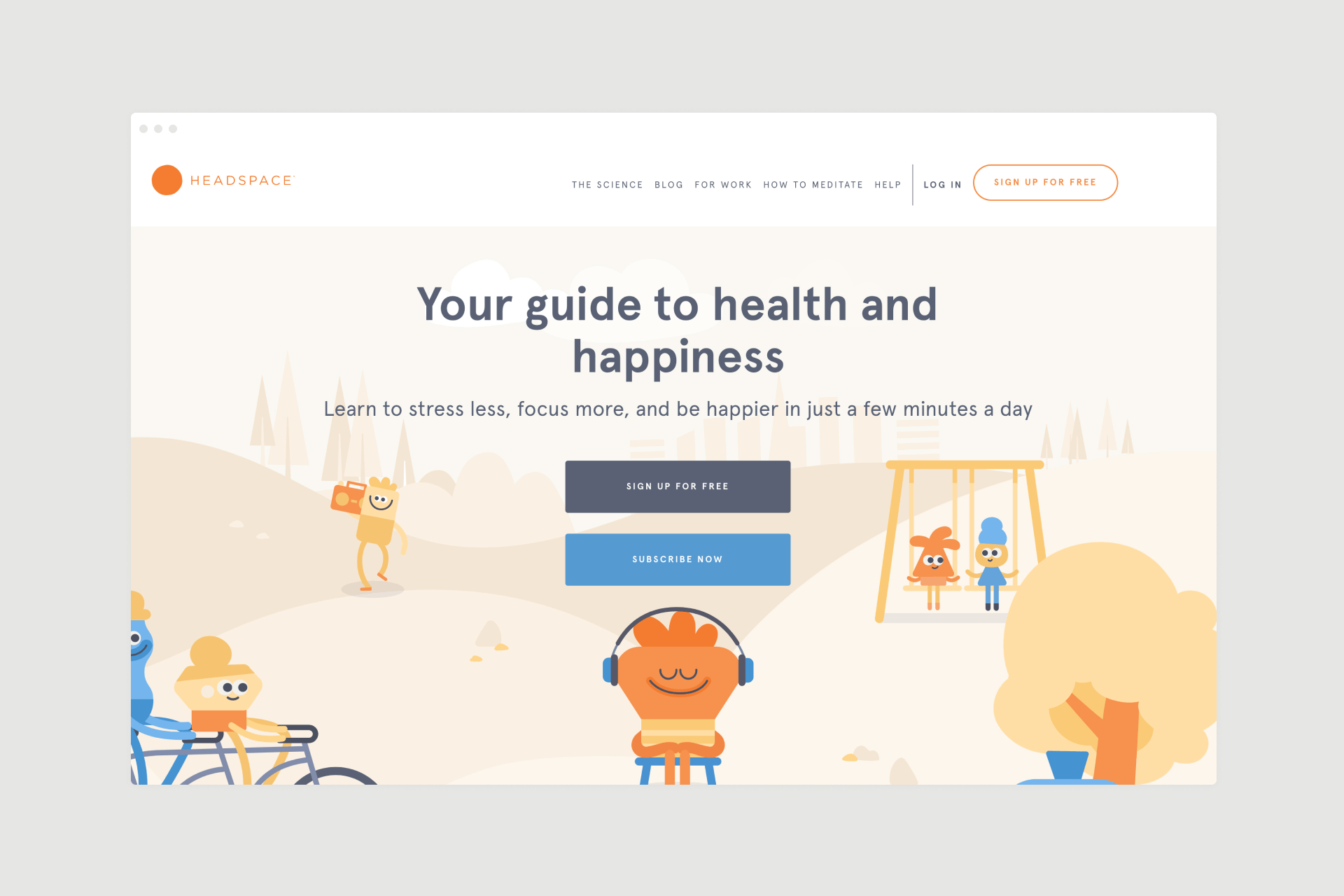 Headspace app landing page design