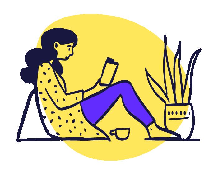ilustracion mujer relax con cafe