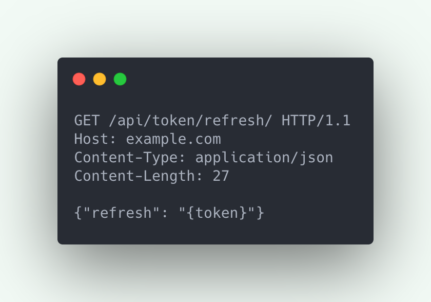 HTTP Request example representing JWT Refresh