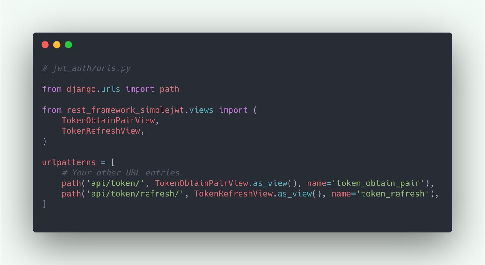 Register Siimple JWT API endpoints in Django URLs
