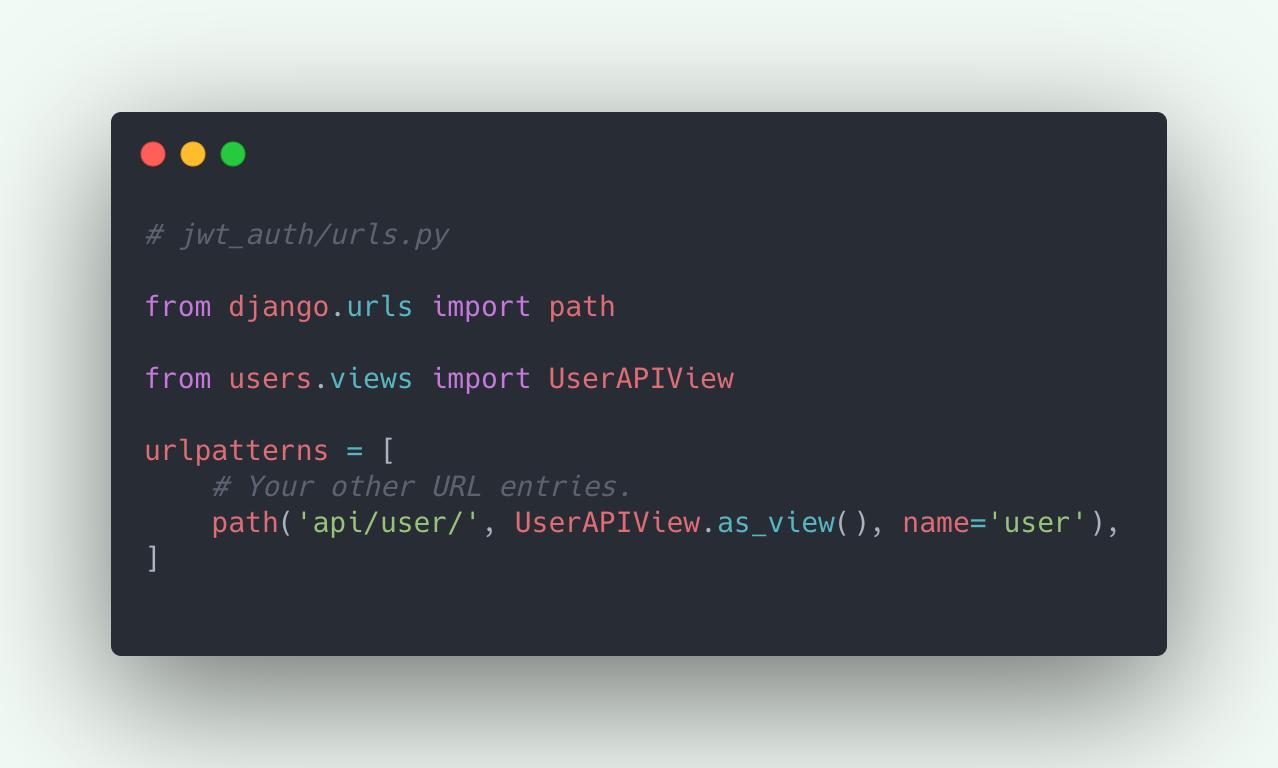 Registering User API in Django URLs
