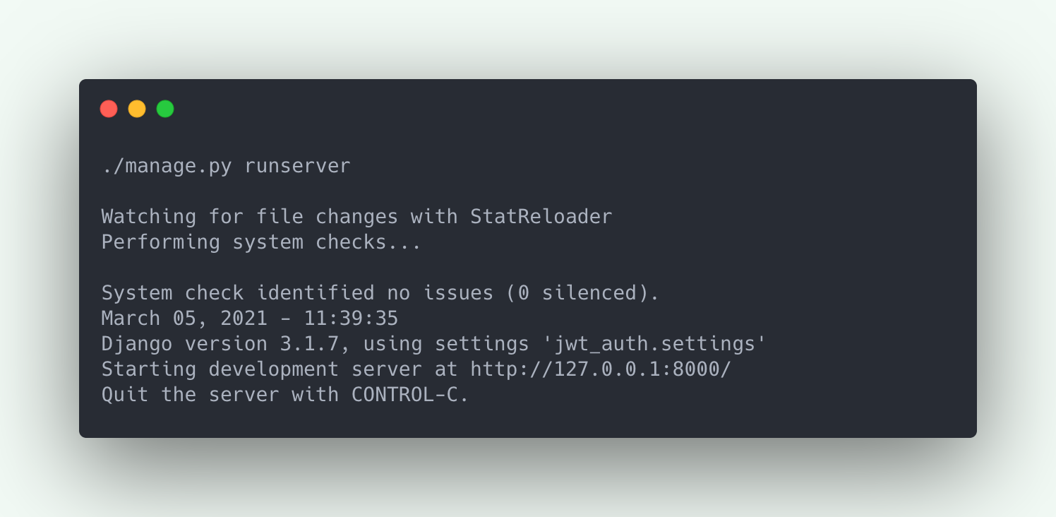 Django runserver command example