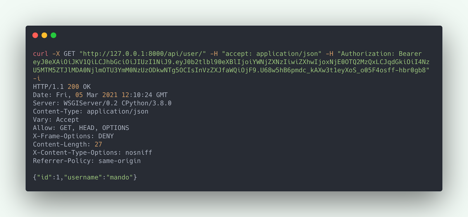 Successful HTTP request (curl) to User API with JWT Authorization