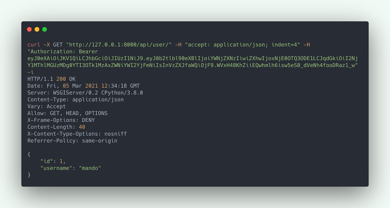 HTTP Request (curl) to User API with refreshed access token