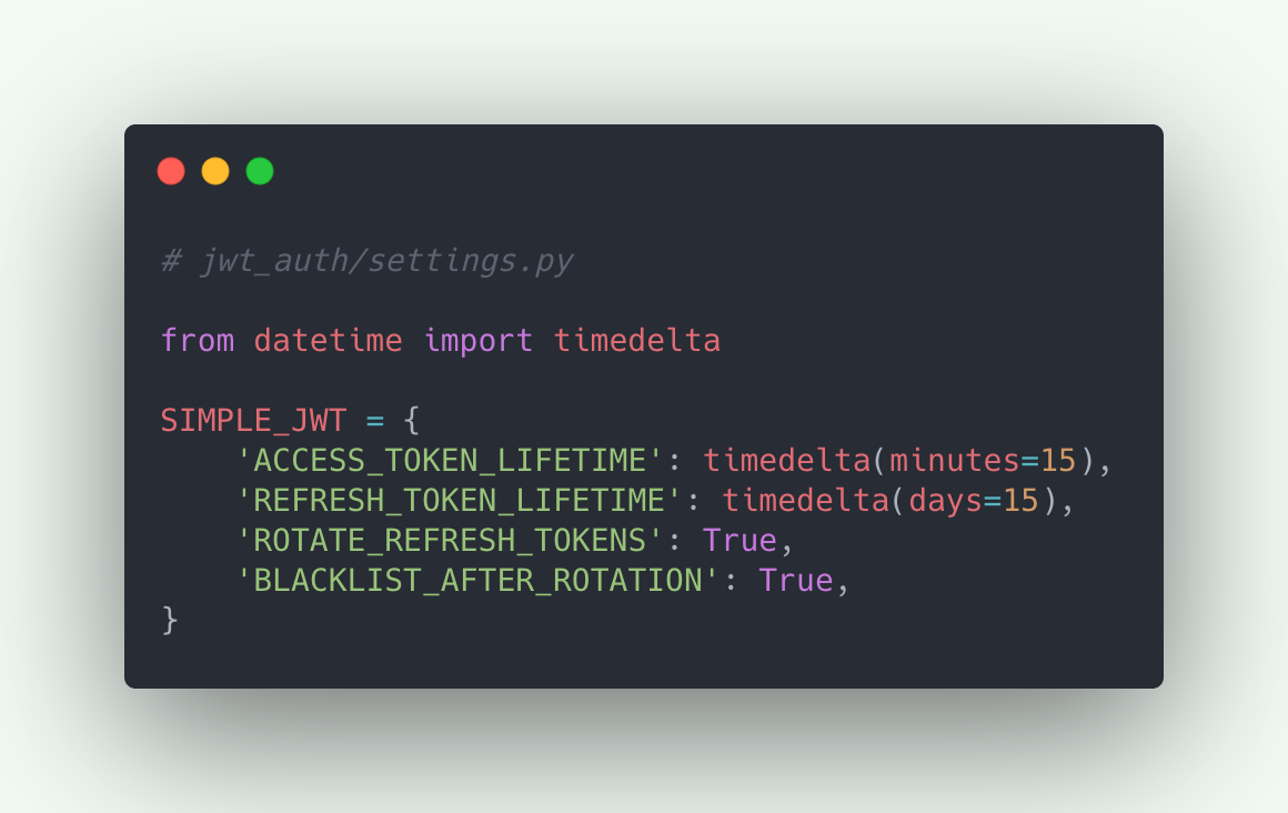 Simple JWT settings example