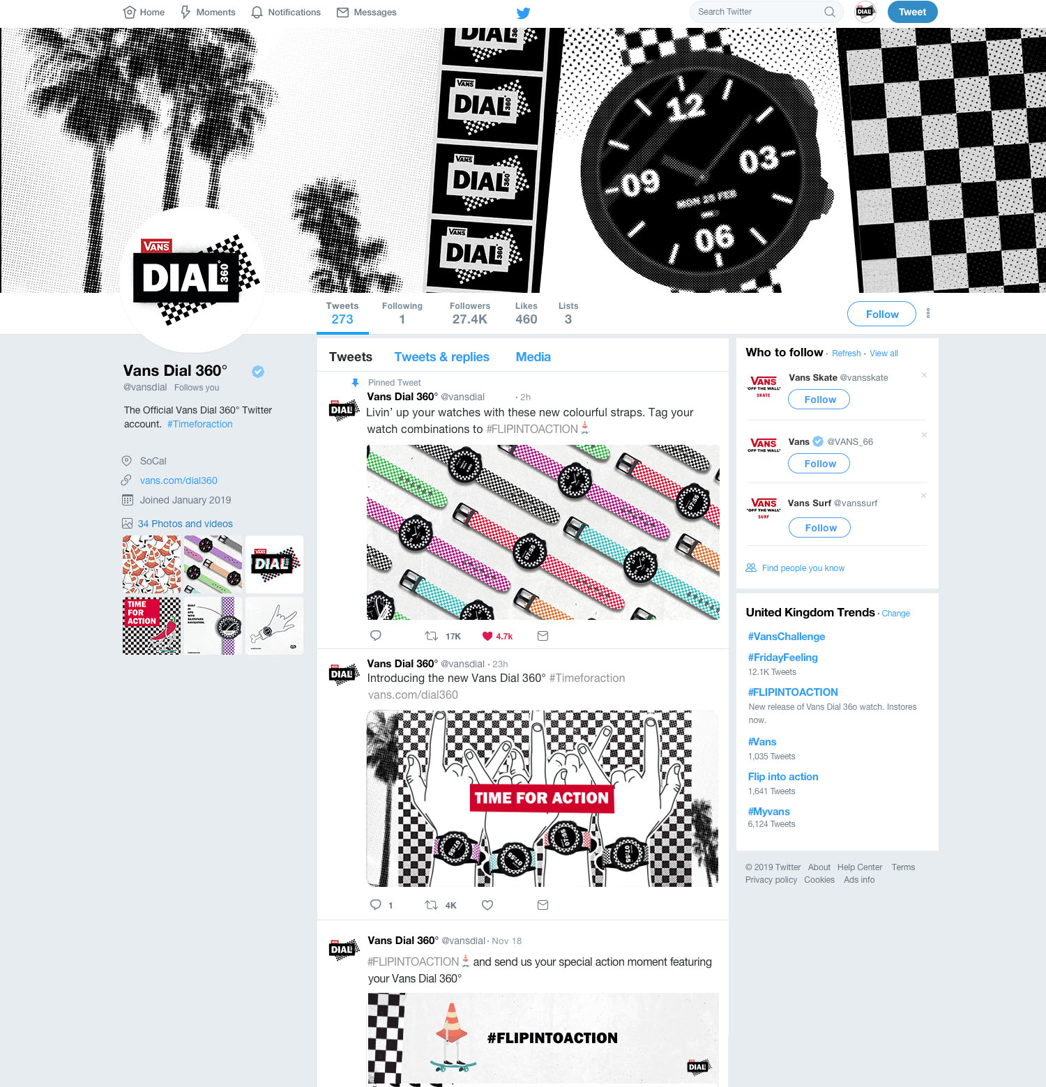 Snapshot of VANS DIAL 36O° desktop Twitter feed