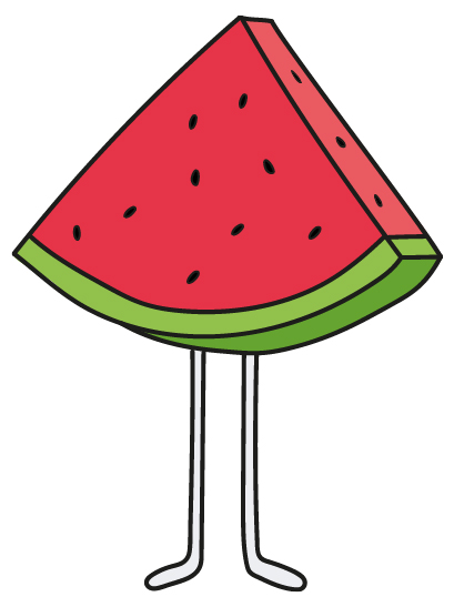 Illustration of a watermelon standing