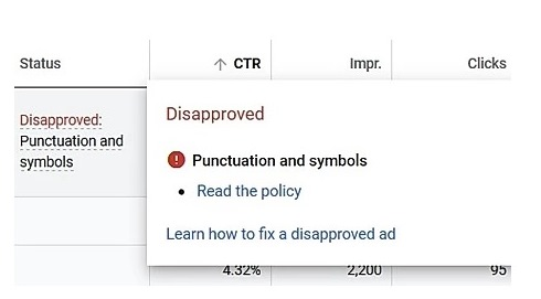 Google ads can be rejected for using symbols or misusing punctuation.