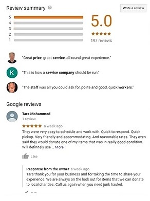 Local SEO for junk removal involves getting reviews and responding to them.