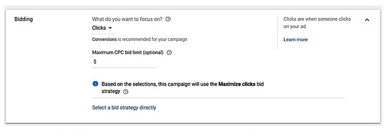 Choose manual clicks in the beginning of your Google Ads campaign
