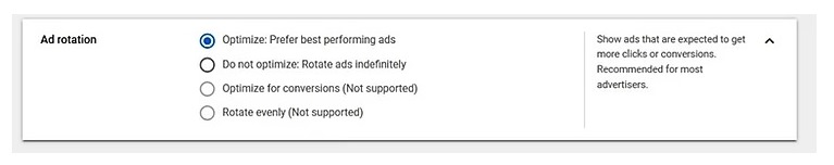 Choose do not optimize in order to get all your ads a chance to succeed.