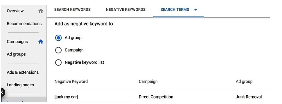 There are different ways to add negative keywords and often depends on your campaign.