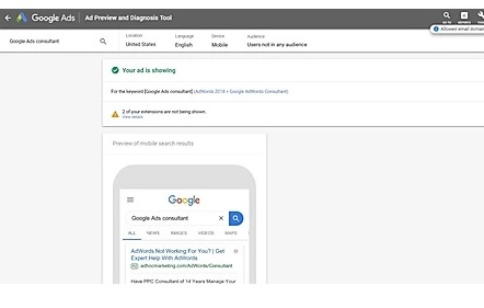 How to use the Google Ads Preview Tool