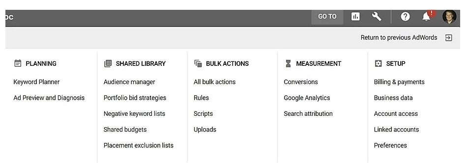 Adding negative keywords at the account level for Google AdWords