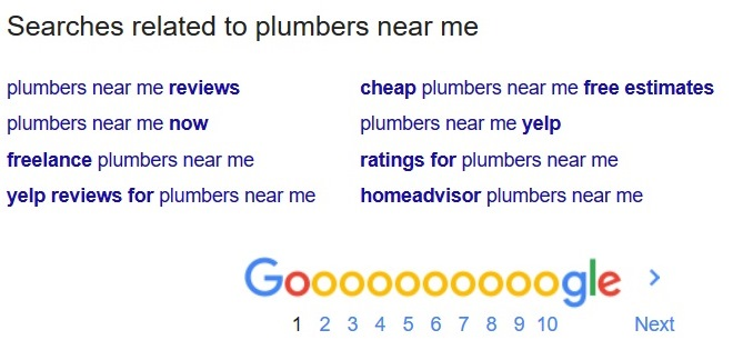 Searches related to a keyword appear at the bottom of Google.