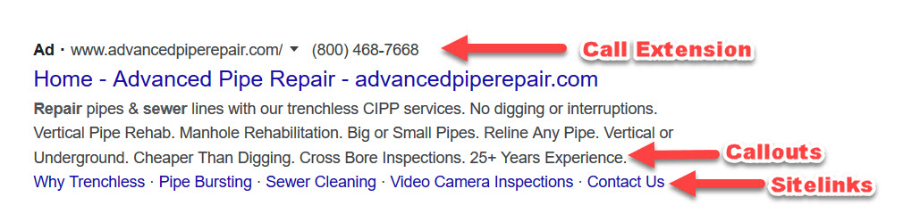 Google ads extensions allow you to add more information about a business and what it offers.