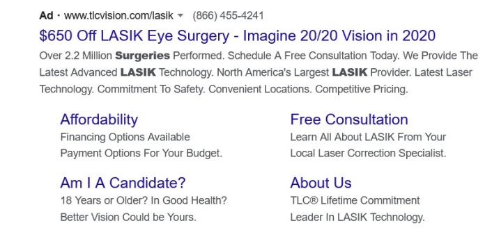 This is an example of a successful Google Ads.