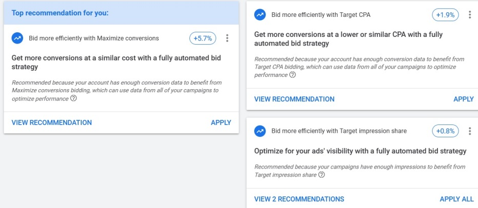 The problem with Google Ads Recommendations is that they can give conflicting signals