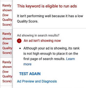 If your asking why are my google ads not getting impressions it could be due to Quality Score