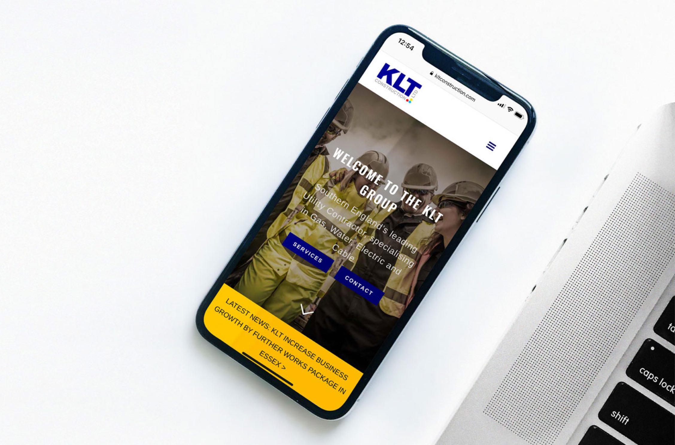 KLT construction mobile friendly website design