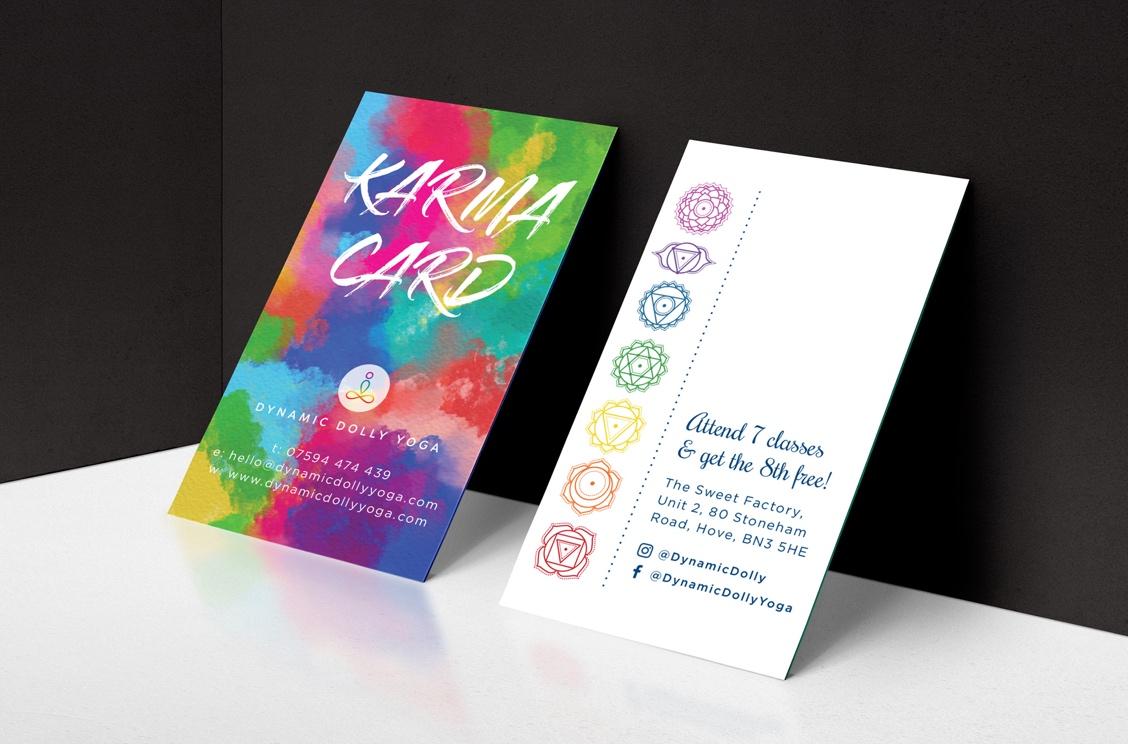 Dynamic Dolly Yoga loyalty cards brand design