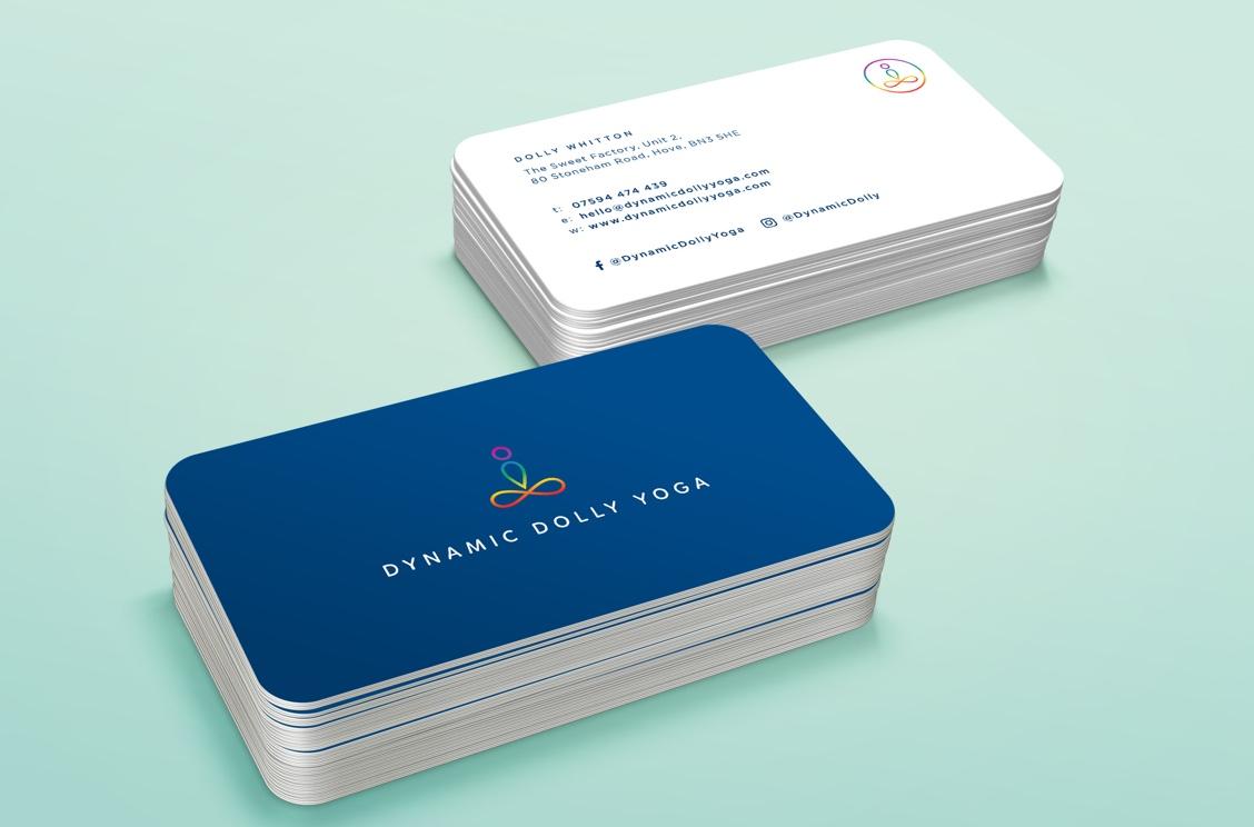 Dynamic Dolly Yoga business cards brand design