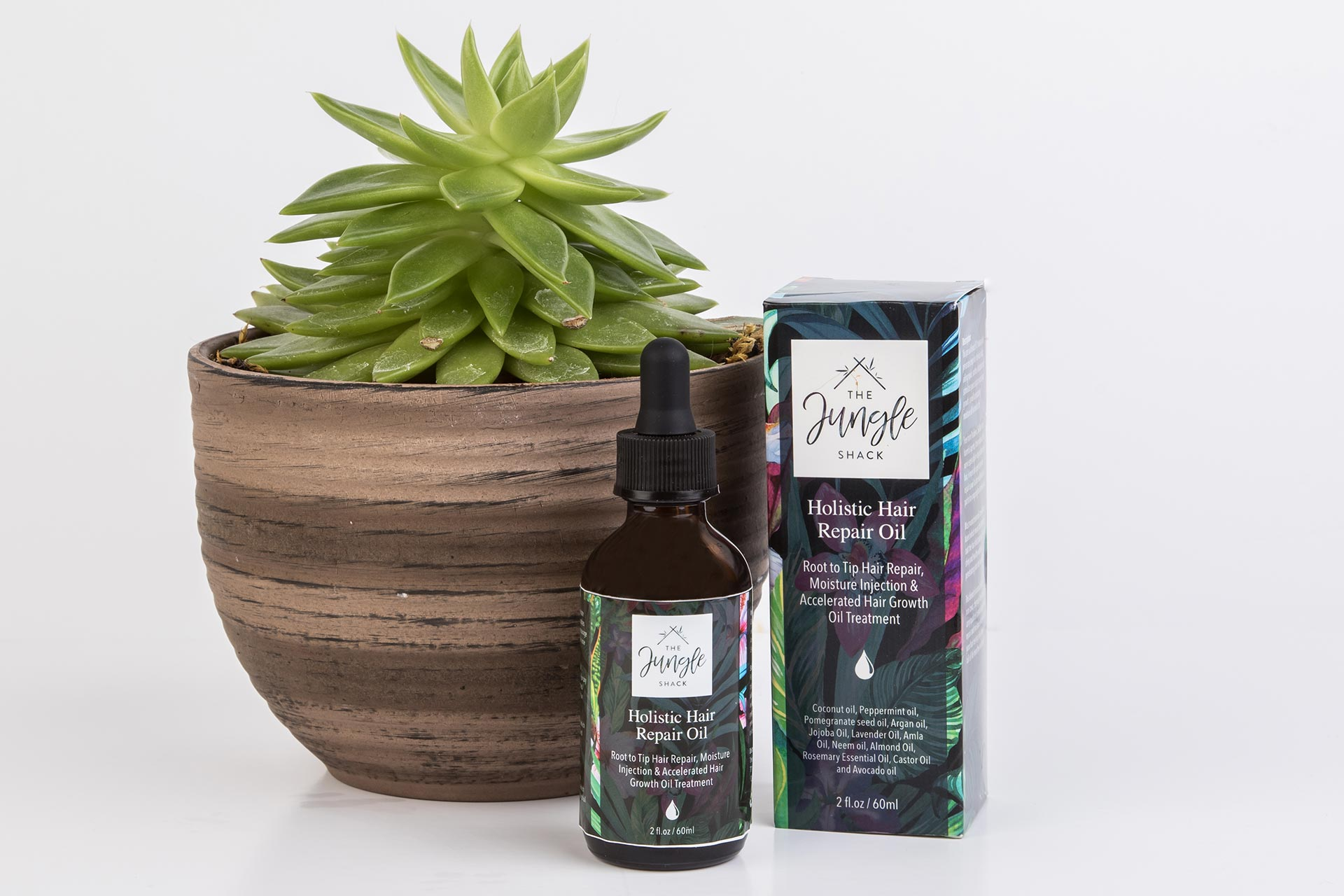 Jungle Shack hair oil product packaging design