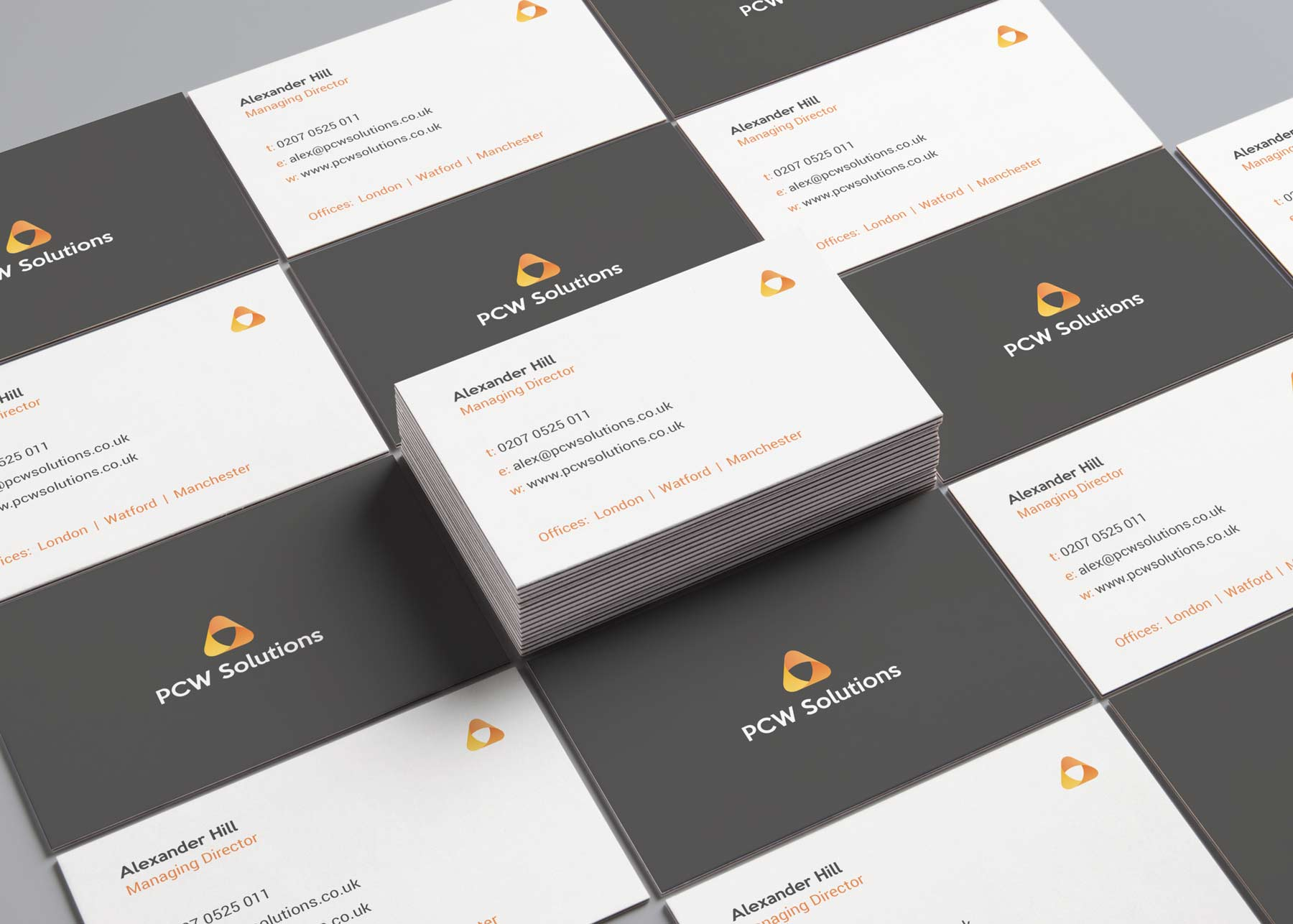 PCW Solutions business card branding designs