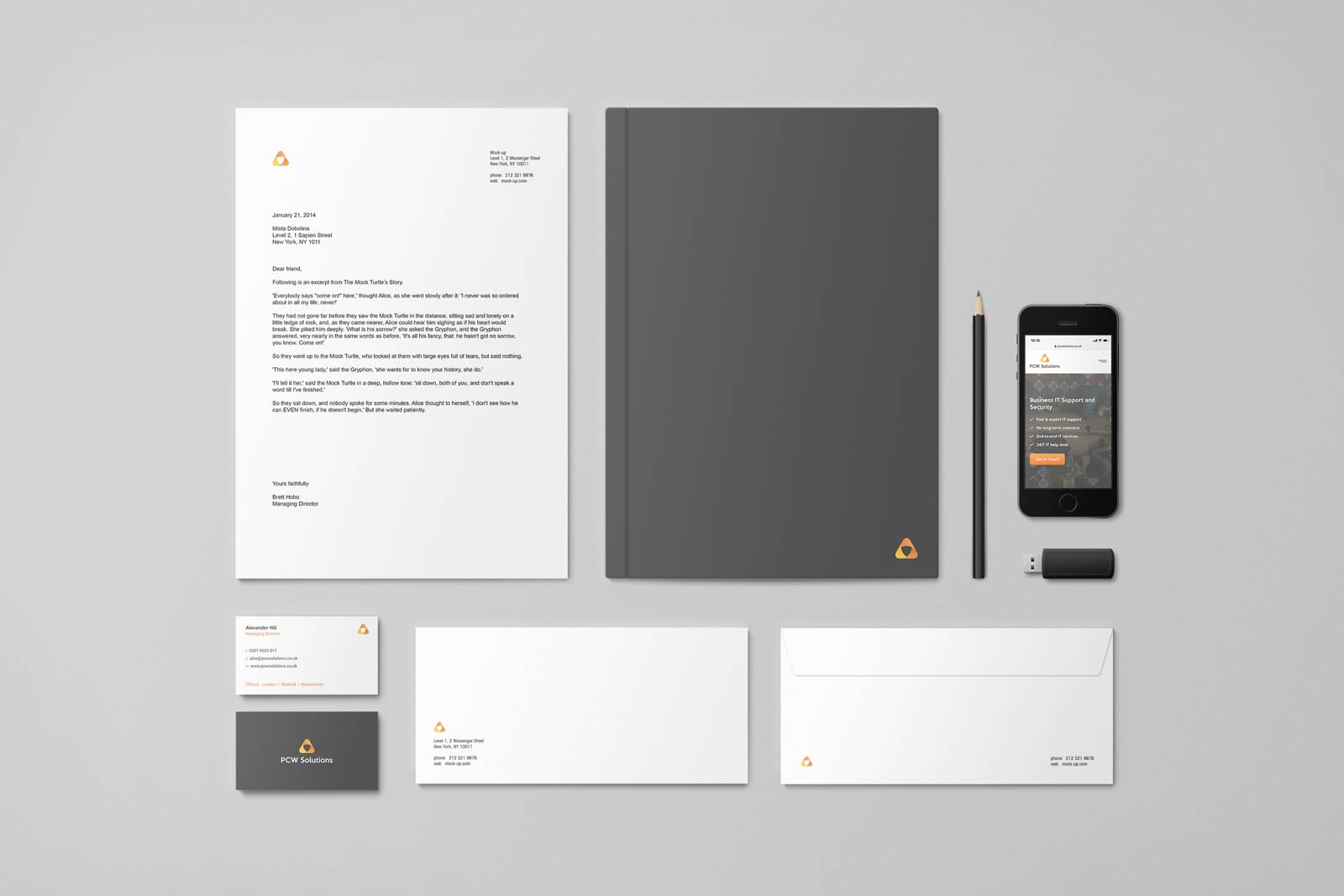 PCW Solutions business stationery brand design
