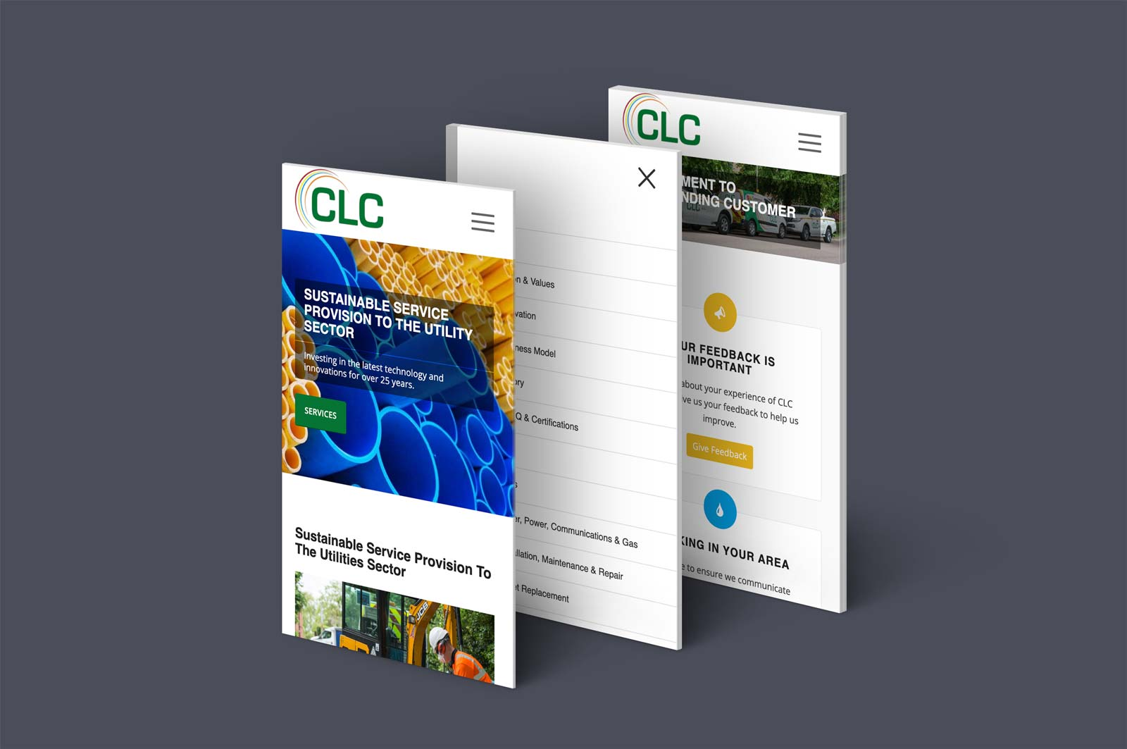 CLC Utilities website mobile page designs