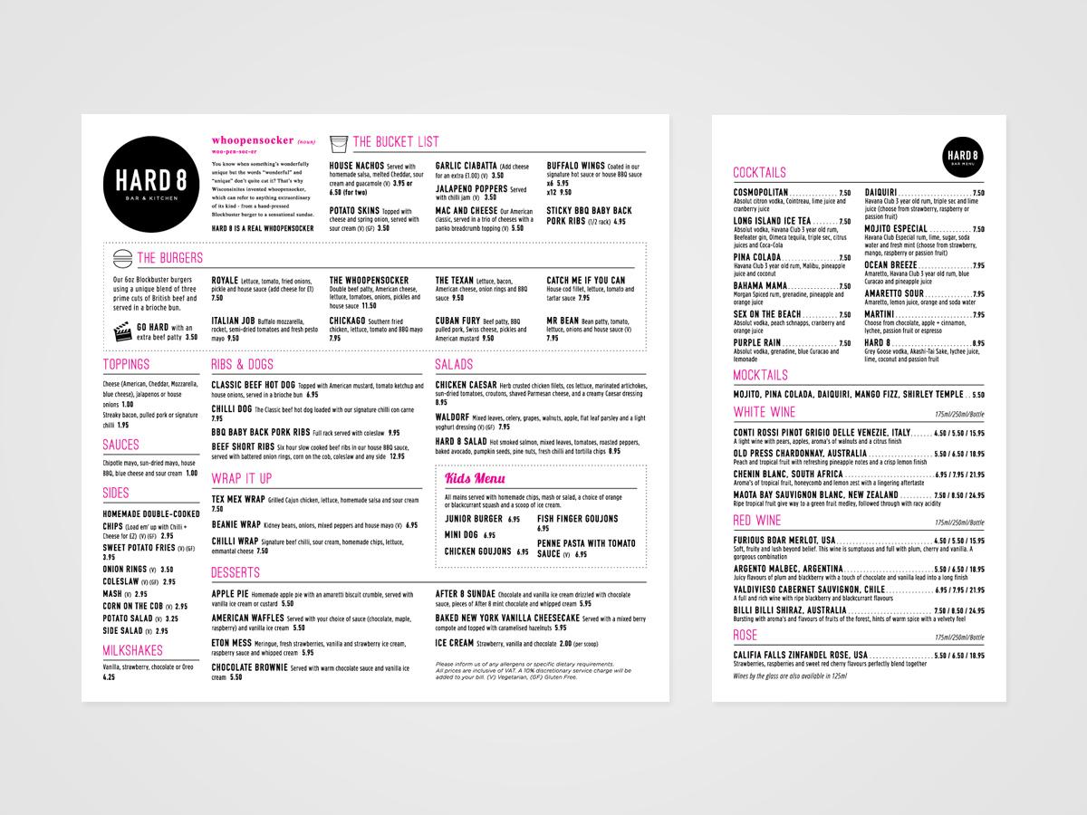 Bar restaurant menu design