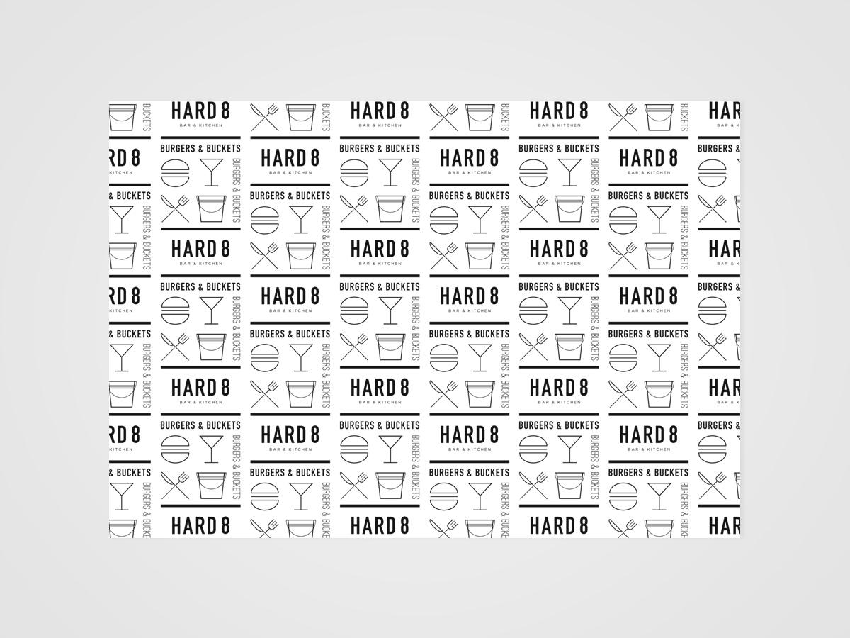 Hard 8 burger paper branding design