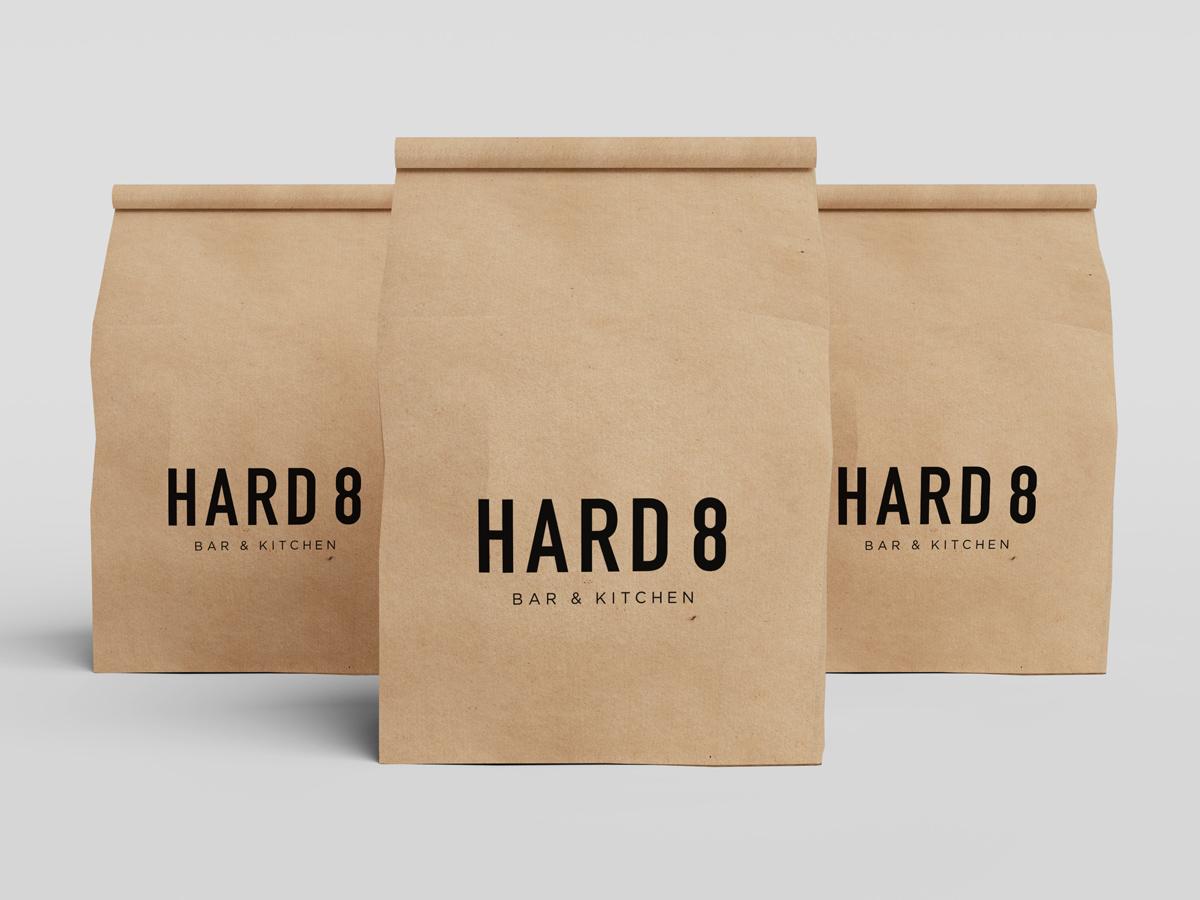 Hard 8 bar restaurant paper bag branding