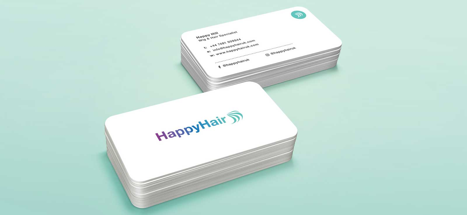 Happy Hair business card design