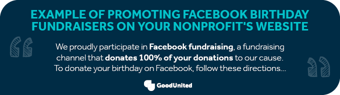 This image shows an example of cross promoting Facebook birthday fundraisers on a nonprofit's website.