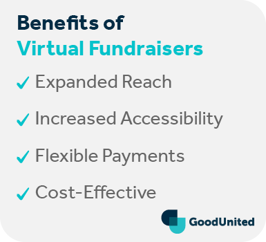 This section covers the benefits of virtual fundraisers, listed below.