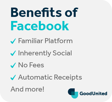 This graphic discusses the benefits of Facebook fundraising for online fundraising.